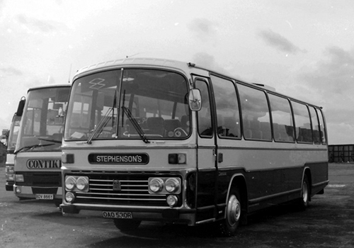 Stephensons Coaches - black and white